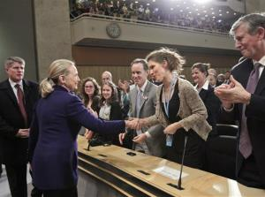 U.S. Secretary of State Hillary Rodham Clinton is greeted by members of the audience after she defended the rights of lesbian, gay, bi-sexual, and transgender persons from around the world on Human Rights Day in a speech entitled Free and Equal in Dignity and Rights, at the United Nations...