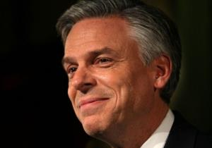 Republican presidential candidate, former Utah Gov. Jon Huntsman smiles as he speaks to supporters during a primary night rally at the The Black Brimmer on January 10, 2012.