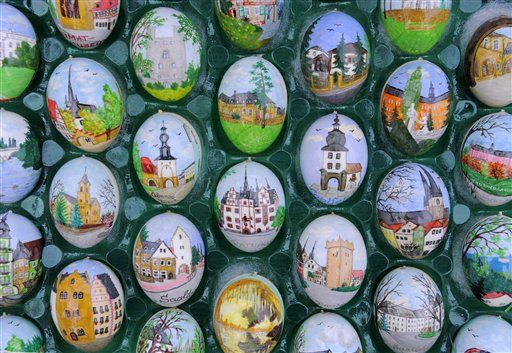 Decorated Easter eggs in the exhibition of pensioner couple Christa and Volker Kraft's garden in Saalfeld, Germany.