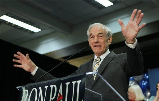 Ron Paul speaks to his supporters following his loss in the Maine caucus to Mitt Romney, in Portland, Maine.