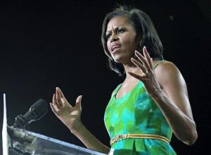 Michelle Obama speaks to supporters during a campaign event for  at the University of Central Florida earlier this week.