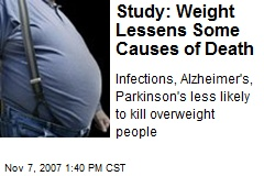 Study: Weight Lessens Some Causes of Death