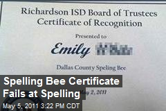 Spelling Bee Certificate Fails at Spelling