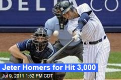 Derek Jeter of the New York Yankees Homers for His 3,000th Hit