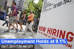 Unemployment Holds at 9.1%