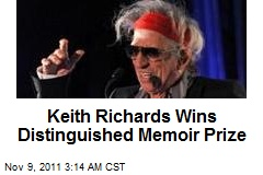 Keith Richards Wins Distinguished Memoir Prize