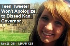 Teen Tweeter Won&amp;#39;t Apologize to Dissed Kan. Governor