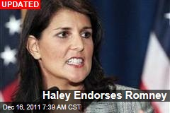 South Carolina Governor Nikki Haley Will Endorse Mitt Romney