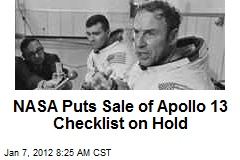 NASA Puts Sale of Apollo 13 Checklist on Hold