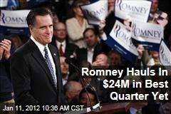 Mitt Romney Raises $24M in Best Quarter Yet