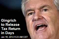 Newt Gingrich to Release Tax Return Thursday; Presses Mitt Romney to Follow his Lead