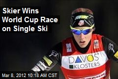 Skier Wins World Cup Race on Single Ski