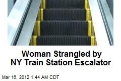 Woman Strangles on NY Train Station Escalator