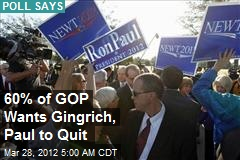 60% of GOP Wants Gingrich, Paul to Quit