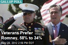 Veterans Prefer Romney, 58% to 34%