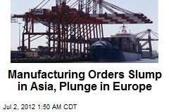 Manufacturing Orders Slump in Asia, Plunge in Europe