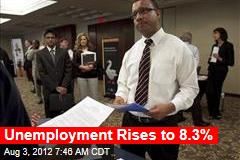 Unemployment Rises to 8.3%