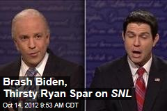 Brash Biden, Thirsty Ryan Spar on SNL