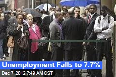 Unemployment Falls to 7.7%