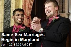 Same-Sex Marriages Begin in Maryland
