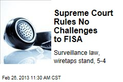 Supreme Court Rules No Challenges to FISA