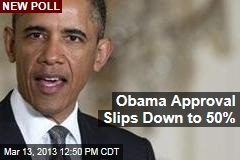 Obama Approval Slips Down to 50%