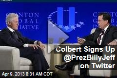 Colbert Signs Up @PrezBillyJeff on Twitter