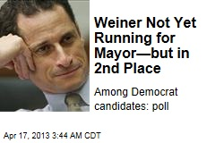 Weiner Not Yet Running for Mayor—but in 2nd Place