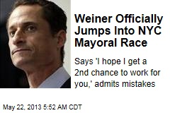 It's Official: Weiner's Running for NYC Mayor
