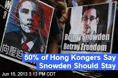 50% of Hong Kongers Say Snowden Should Stay
