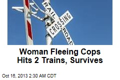 Woman Fleeing Cops Hits 2 Trains, Survives