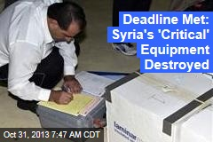 Syria Meets First Chemical Weapons Deadline