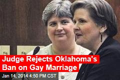 Judge Rejects Oklahoma's Bay on Gay Marriage