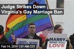 Judge Strikes Down Virginia's Gay Marriage Ban