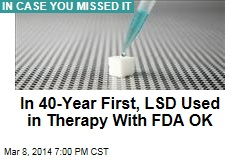 In 40-Year First, LSD Used in Therapy With FDA OK