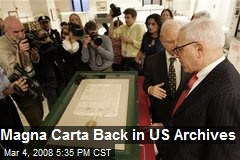 Magna Carta Back in US Archives