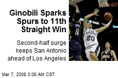 Ginobili Sparks Spurs to 11th Straight Win