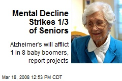 Mental Decline Strikes 1/3 of Seniors