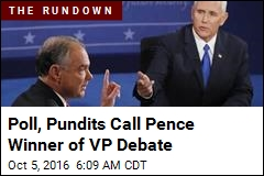 Poll, Pundits Call Pence Winner of VP Debate