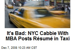 It's Bad: NYC Cabbie With MBA Posts Résumé in Taxi