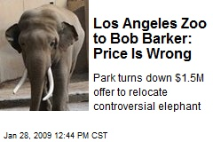 Los Angeles Zoo to Bob Barker: Price Is Wrong