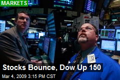 Stocks Bounce, Dow Up 150