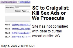 SC to Craigslist: Kill Sex Ads or We Prosecute