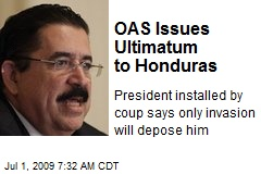 OAS Issues Ultimatum to Honduras