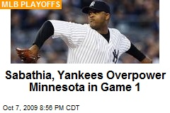 Sabathia, Yankees Overpower Minnesota in Game 1