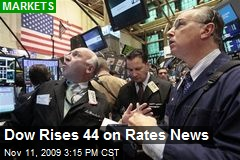 Dow Rises 44 on Rates News