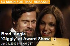 Brad, Angie &#39;Giggly&#39; at Award Show